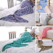 New Knitted Mermaid Tail Blanket Home Decor Acrylic Throw Rug 195cmx90cm