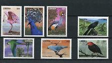 Liberia 1998 Gomma integra, non linguellato Birds 7v Set Spatola ANI piranga ara pappagalli deliciosus FRANCOBOLLI