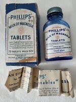Vintage Original PHILLIP'S Milk of Magnesia Tablets Blue Glass Bottle with Box