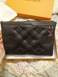 Louis Vuitton A4 Pouch Monogram Puffer Black Lambskin With Silver Tone