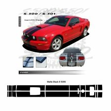 Ford Mustang GT 2005-2009 w/ Hood Scoop Stripes Graphic Kit - Matte Black