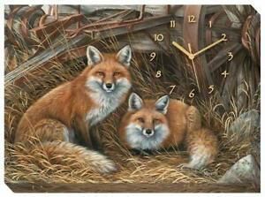 Rustic Retreat - Foxes Canvas Clock by Rosemary Millette