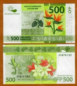 French Pacific Territories, 500 Francs ND (2014) P-5, New. Sig. UNC > Flowers