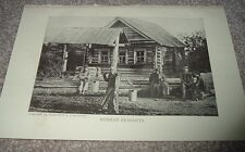 1919 RUSSIAN PEASANTS FAMILY In Front of Log Cabin House Photographic Print