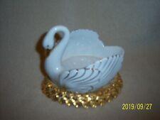 Porcelain Swan Dish On Gold Toned Metal Nest