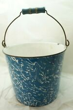ANTIQUE GRANITEWARE BUCKET PAIL BLUE SWIRL MILK WATER BAIL HANDLE ENAMELWARE d