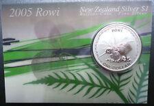 New Zealand Kiwi - 2005 - Silver $1 BU Coin - 1 OZ Rowi Kiwi Rare !!!