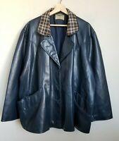 Unbranded Plus Vintage Jacket Navy Blue Button Plaid Collar Pockets Polyvinyl 3X