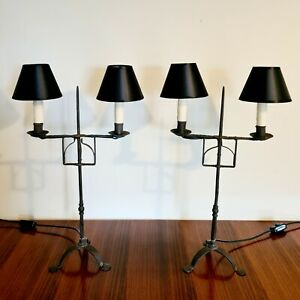Tall Pair Of French Wrought Iron Brutalist Lamps