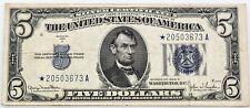 $5 Blue Seal Silver Certificate Star Note Series 1934 D Fine