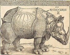 Albrecht Durer: The Rhinoceros - Engraving Animal Art Real Canvas Print New