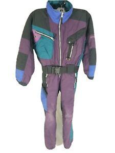 Kids Obermeyer One Piece Snow Suit Size 8 Youth Juniors Multicolor Vintage Ski