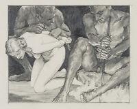 Carl WALTHER (1880-1956), Zwei Faune mit weiblichem Akt, Bleistift und Kohle