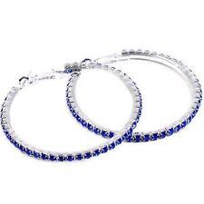 Blue Diamonte / Diamante 1 Row Hoop Earrings 4cm - NEW!!!