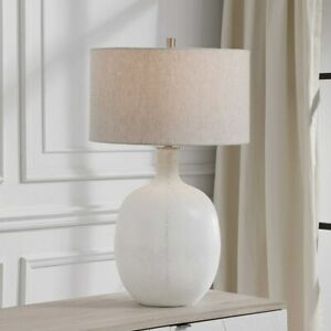"""WHITEOUT 30"""" MODERN TEXTURED AGED WHITE GLASS TABLE LAMP UTTERMOST 28469"""