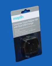 Maplin Universal Travel Adapter + Dual USB Charger(for iPads,smartphones,camera)