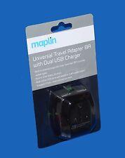 Maplin universale da viaggio adattatore + Dual USB Charger (per iPad, Smartphone, fotocamera)