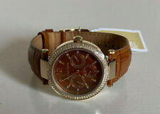 NEW! MICHAEL KORS MK PARKER MULTI-FUNCTION BROWN LEATHER WATCH MK2546 $225 SALE
