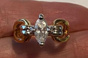 Gorgeous PREMIER DESIGNS Marquise CZ Solitaire Two-Tone Engagement Ring Sz 6.5