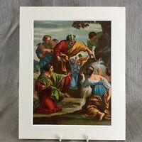 1860 Antico Cromolitografia Moses Striking The Rock Bibbia Story Pittura Stampa