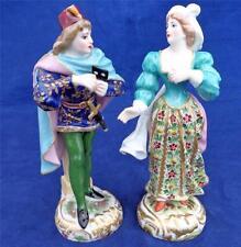 Pair 19th C Antique Edme Samson Copies Derby Porcelain Figurines Romeo Juliette