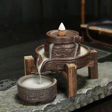 Ceramic Stone millstone Wood support Smoke backflow Incense burner 7 free cones