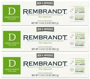 LOT 3 REMBRANDT DEEPLY WHITE + PEROXIDE TOOTHPASTE PEPPERMINT 3.5 OZ EXP 03/21