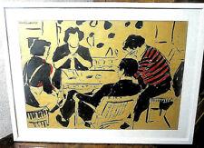 """Tuschezeichnung """"Familie am Couchtisch"""" signiert Heinrich Rettner 1955"""