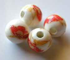 30pcs 10mm Round Porcelain/Ceramic Beads - White / Bright Red Poppy Flowers
