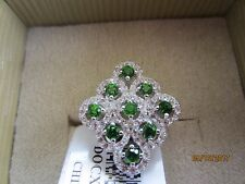 .55 CTW CHROME DIOPSIDE WITH .62 CTW WHITE ZIRCON~925 STERLING SILVER ~SIZE 5