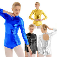 Womens Mock Neck Metallic Ballet Dance Long Sleeves Leotard Top Costume Ballroom