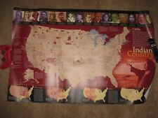 LARGE NATIVE AMERICAN INDIAN COUNTRY UNITED STATES WALL MAP TEXAS CALIFORNIA NR
