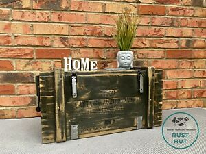 Wooden Ammo Box Vintage Rustic Storage Chest Industrial Trunk Coffee Table