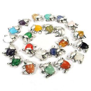 natural gemstone beads elephant charms pendant turquoise jasper malachite agate
