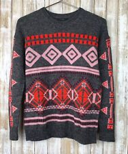 J CREW Abstract Fair Isle Gray Red Pink Wool Mohair Thin Winter Sweater XS