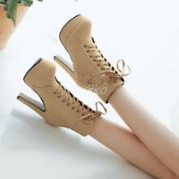 Womens Buckle Round Toe Side Zip Platform High Stiletto Heels Ankle Boots Shoes