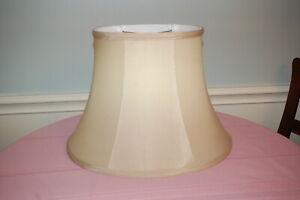 "Light gold/golden tan OVAL BELL EMPIRE Lamp Shade Fabric 11"" Tall 16"" Wide"