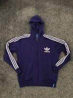 Adidas Originals Men's Purple Full Zip Hoodie Size XL Trefoil Firebird