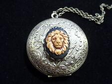 ANTIQUE BRONZE LION CAMEO ROUND LOCKET  LARGE