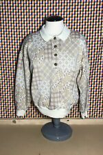New listing Women's Vintage 80s Collared Sweater Blouse Polo Pullover Button Gold White