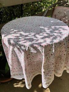 Vintage Boho Round Tablecloth Boho Indian Hand Block Paisley Print Pink Green