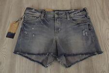 NEW $59 SILVER Aiko Jean Mid Rise Shorts Womens 28 W x 3 L NWT Jeans Distressed