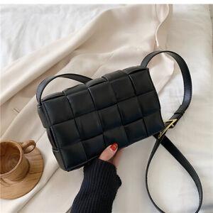 Padded Weave Bag Faux Leather Crossbody Handbag Cassette