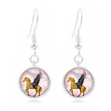 Pegasus Flying glass Frea Earrings Art Photo Tibet silver Earring Jewelry #409