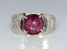 925 Sterling Silver Star Ruby & White Topaz Gemstone Men's Rings