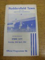 20/04/1963 Huddersfield Town v Stoke City  (rusty staple, worn corner). Thanks f