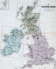 1883 LARGE MAP BRITISH ISLES IRELAND SCOTLAND SURREY DORSET MONMOUTH NORFOLK