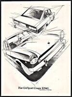 1970 FIAT 124 Sport Coupe Vintage Print Car AD