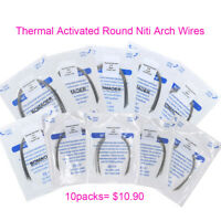 10 packs Dental Orthodontic Thermal Activated Round Niti Arch Wires Oval 10 SIZE