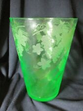 "RARE VINTAGE GREEN GLASS BEAKER VASE 9"" TALL PRE OWNED BEAUTIFULLY ETCHED"